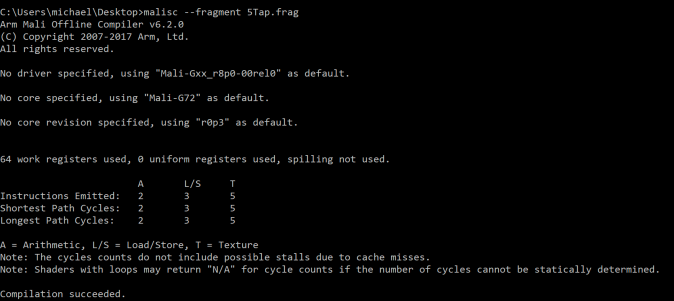 Mali Shader Compiler Output